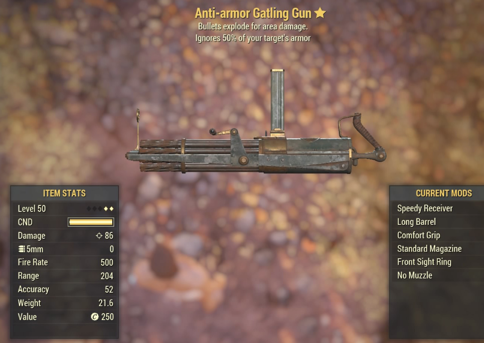 Anti-armor Gatling Gun - Level 50