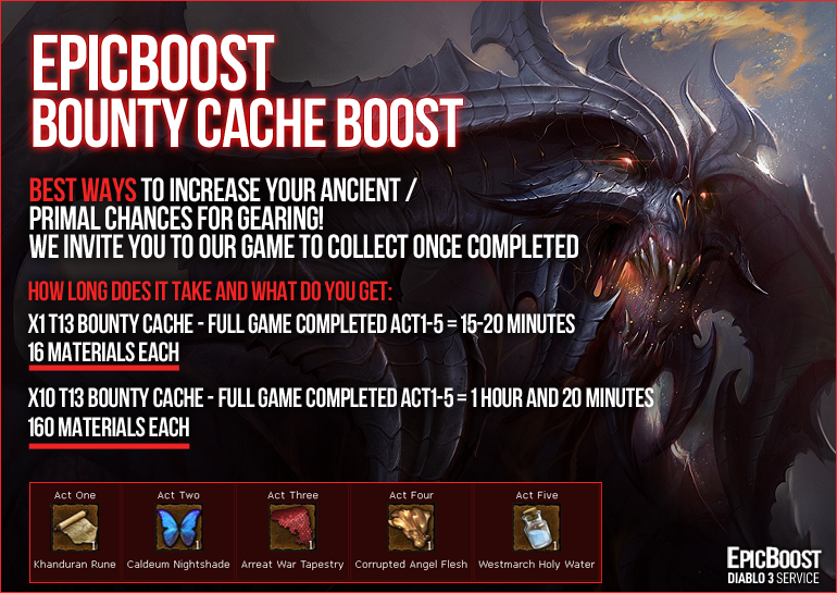 ✅EpicBoost✅[US] x3 (15 CACHE) Torment 13 Bounty Cache FULL GAME = $7__100% POSITIVE FEEDBACK!