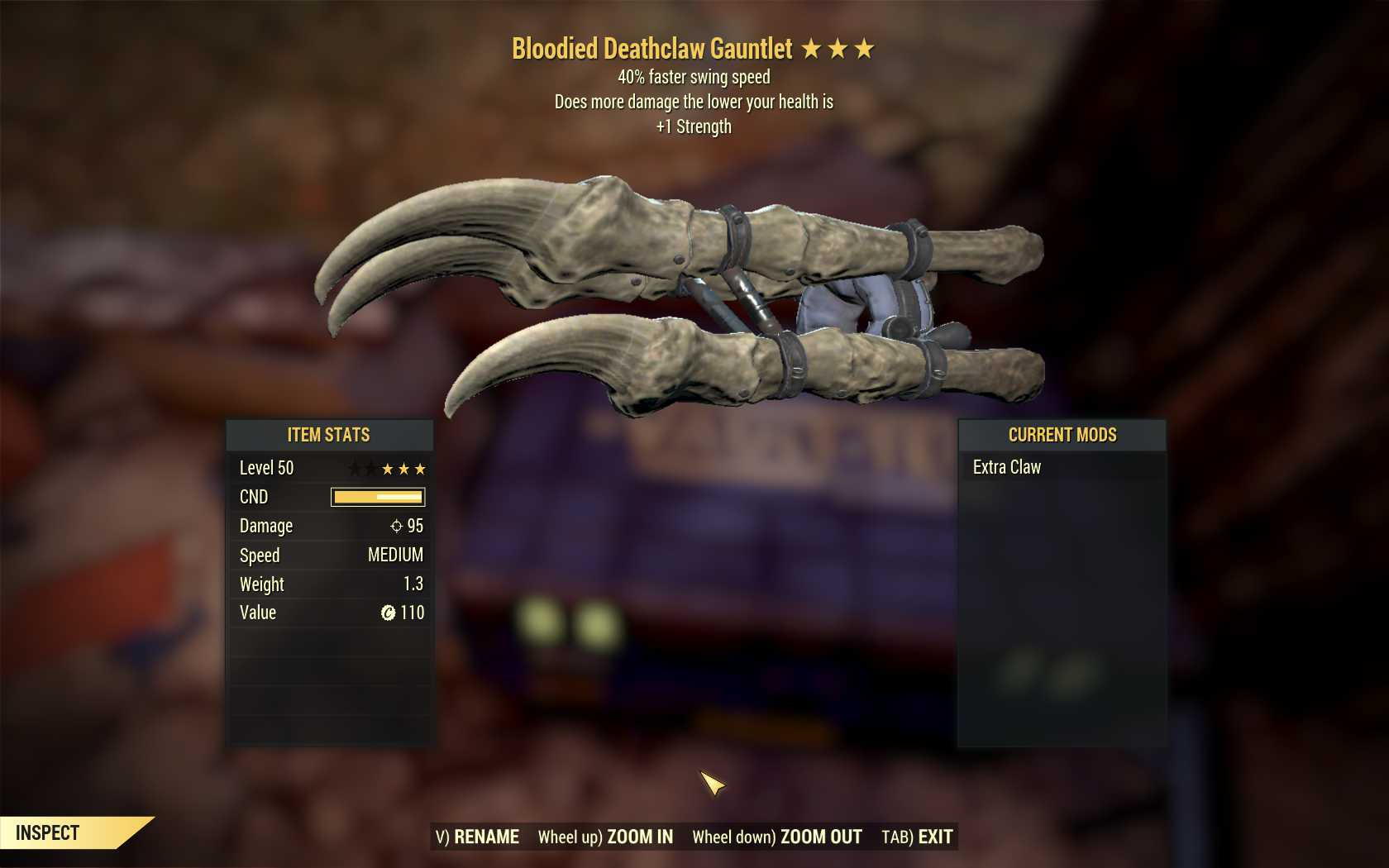 Bloodied Deathclaw Gauntlet (40% Faster Swing Speed,+1 Strength)