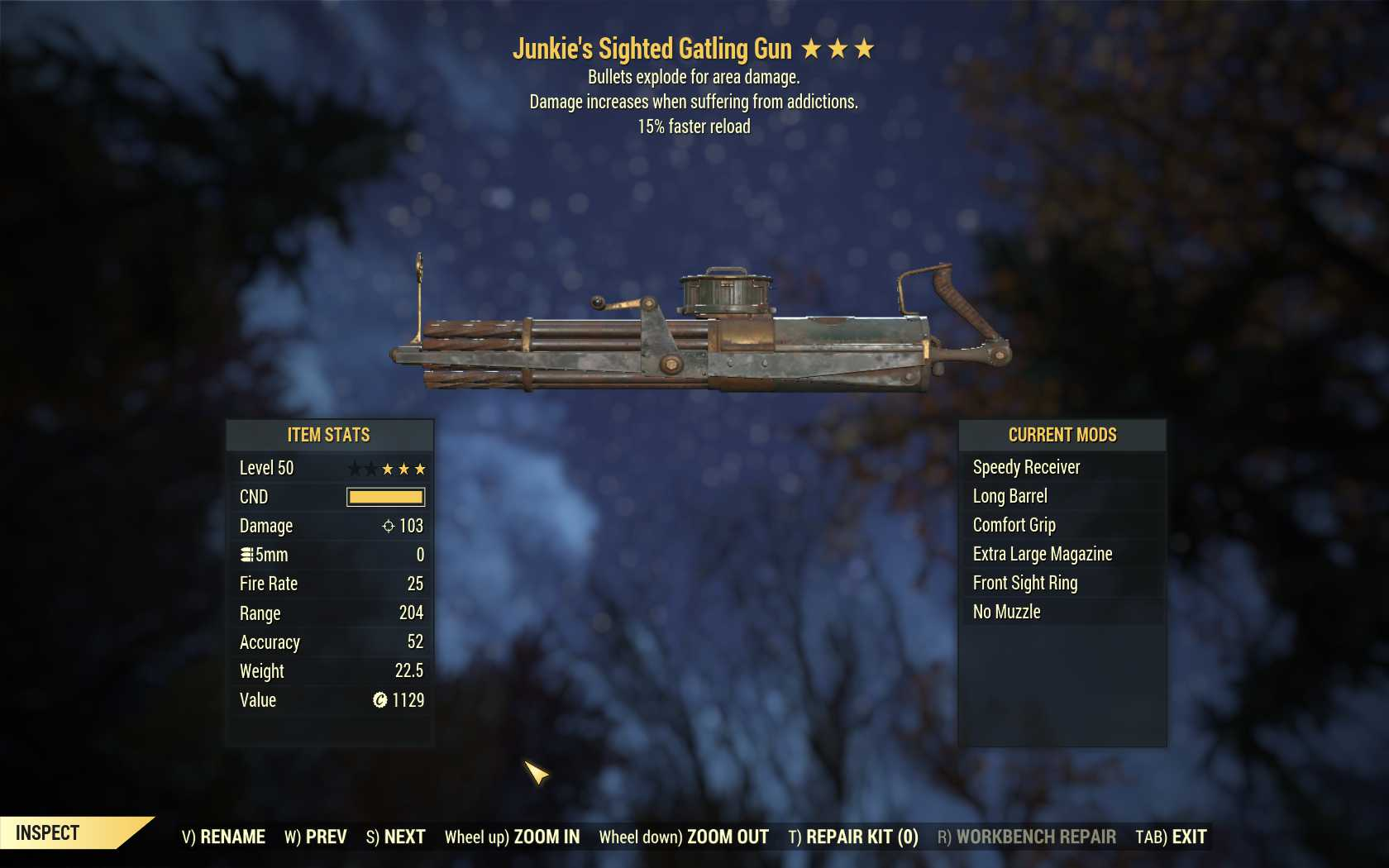 Junkie's Explosive Gatling Gun (15% faster reload)