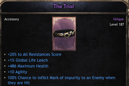 BEST ROLL 187 The Trial | +20% All Resist | +486 Health | +10 Agility | +1% Leech | Unique Belt