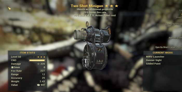 Two SHOT 25% Faster Fire Rate  MINIGUN + 25% VATS [2000 DMG! GLITCH WEAPONS]