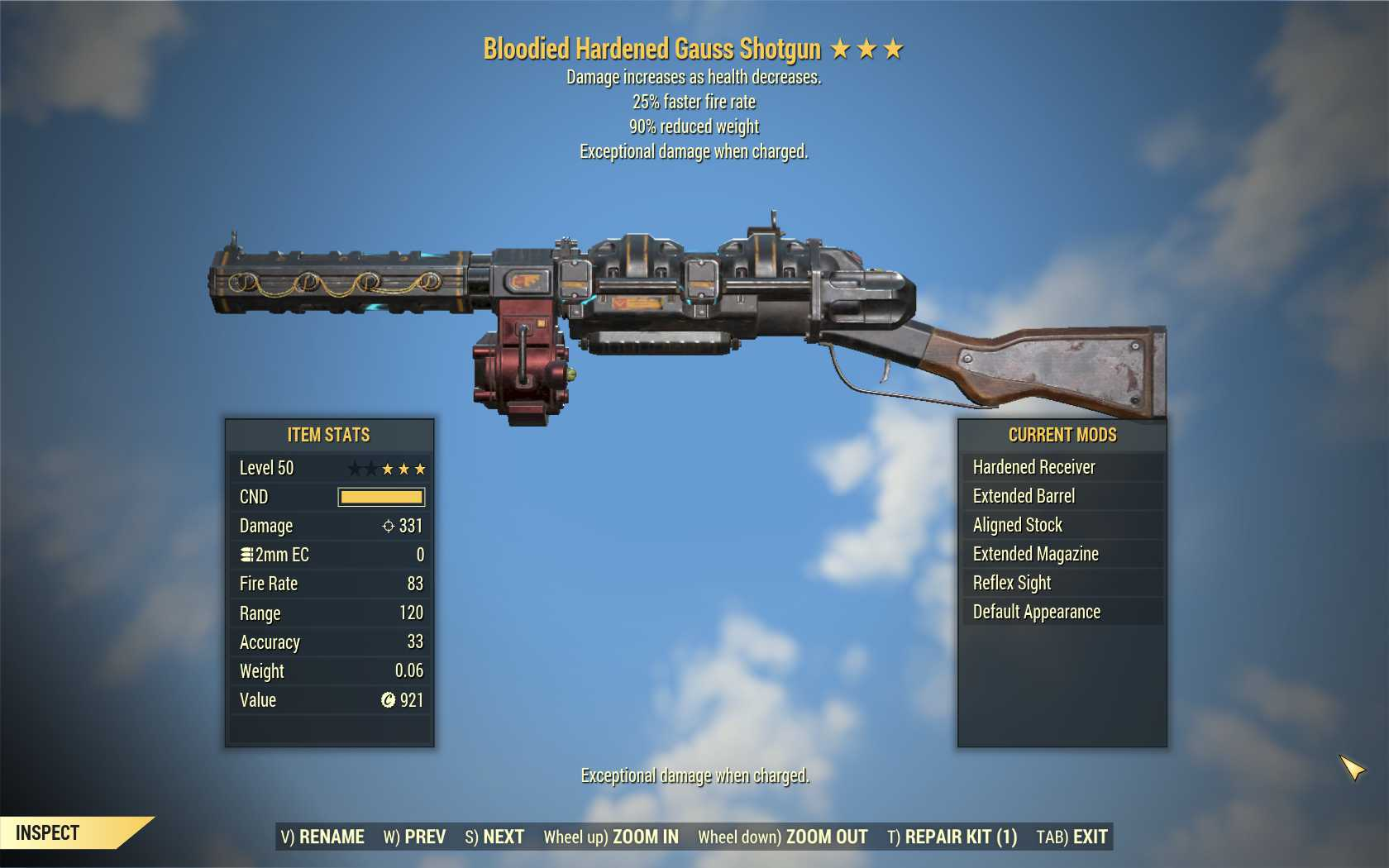Bloodied Gauss Shotgun (25% faster fire rate, 90% reduced weight) FULL MODDED [Wastelanders]