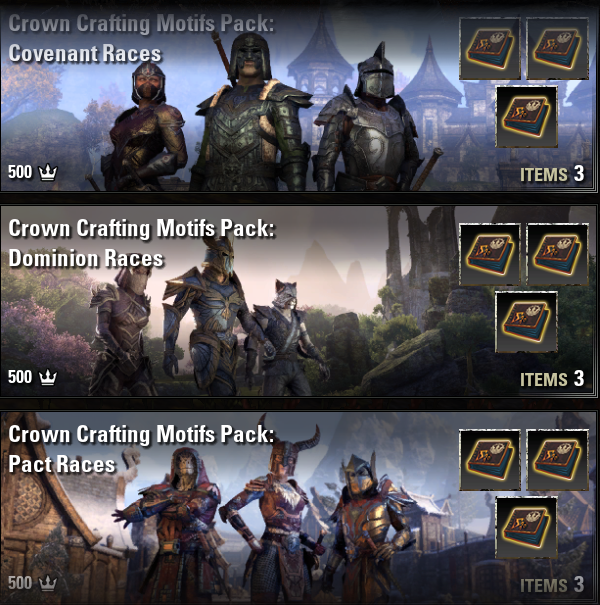 Crown Crafting Motifs Pack: Covenant + Dominion + Pact Races [NA-PC]