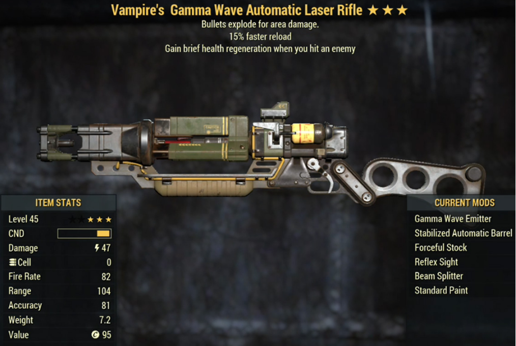Vampire's Gamma Wave Automatic Laser Rifle- Level 45