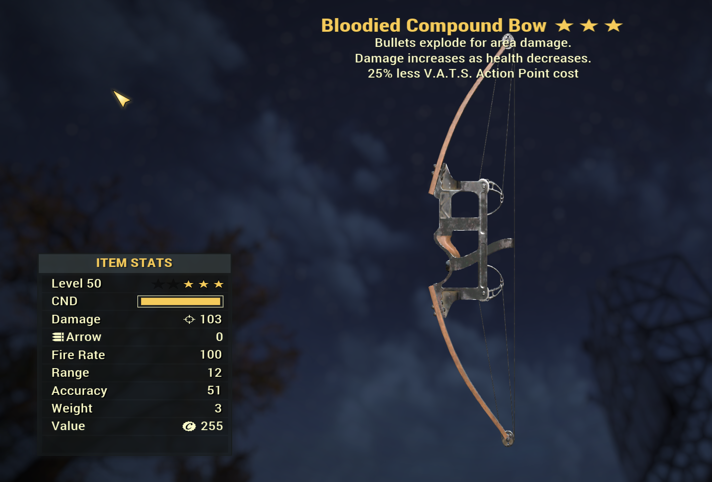 Bloodied Explosive Compound BOW NEW WASTELANDERS WEAPON