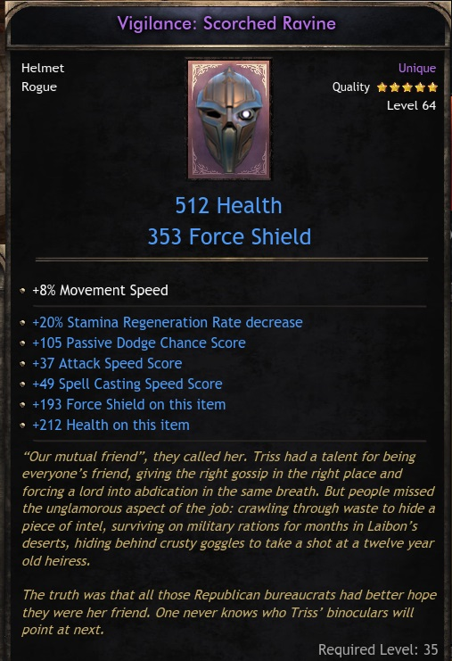Unique Helm  Vigilance: Scorched Ravine