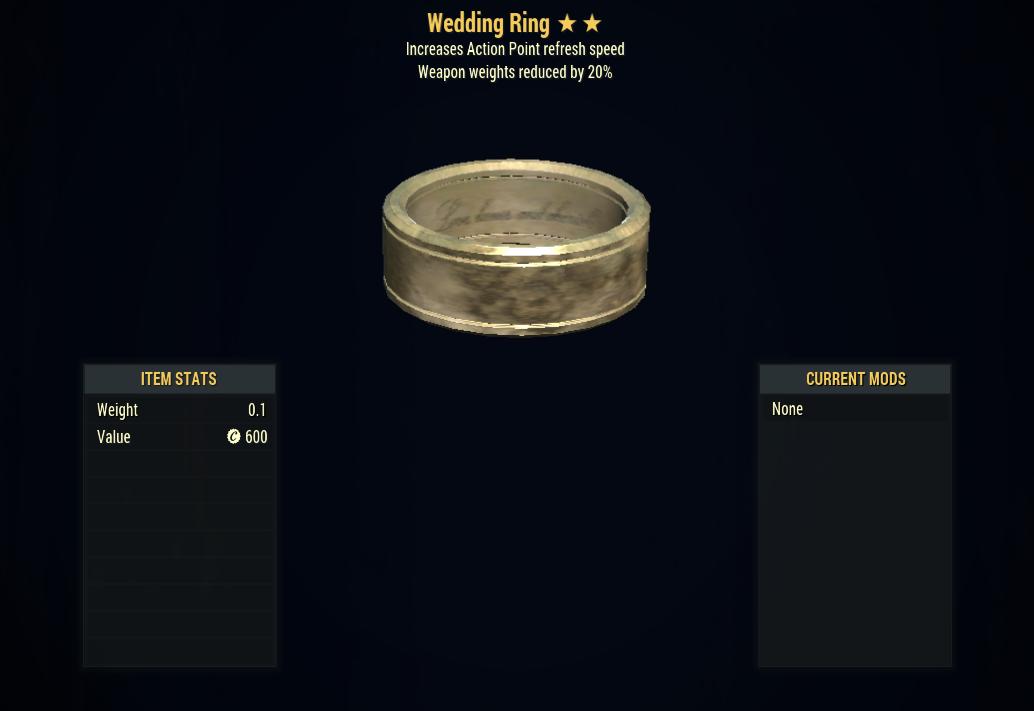 [PC] Wedding Ring (-20% Weapon Weights + AP Refresh)