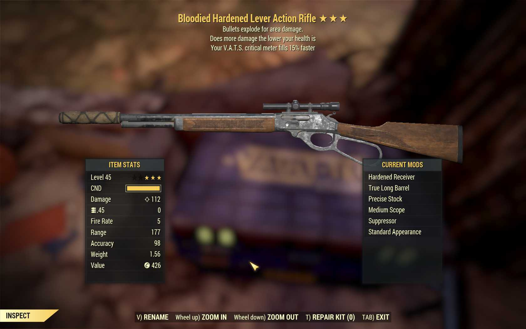 Bloodied Explosive Lever Action (VATS crit fills 15% faster)