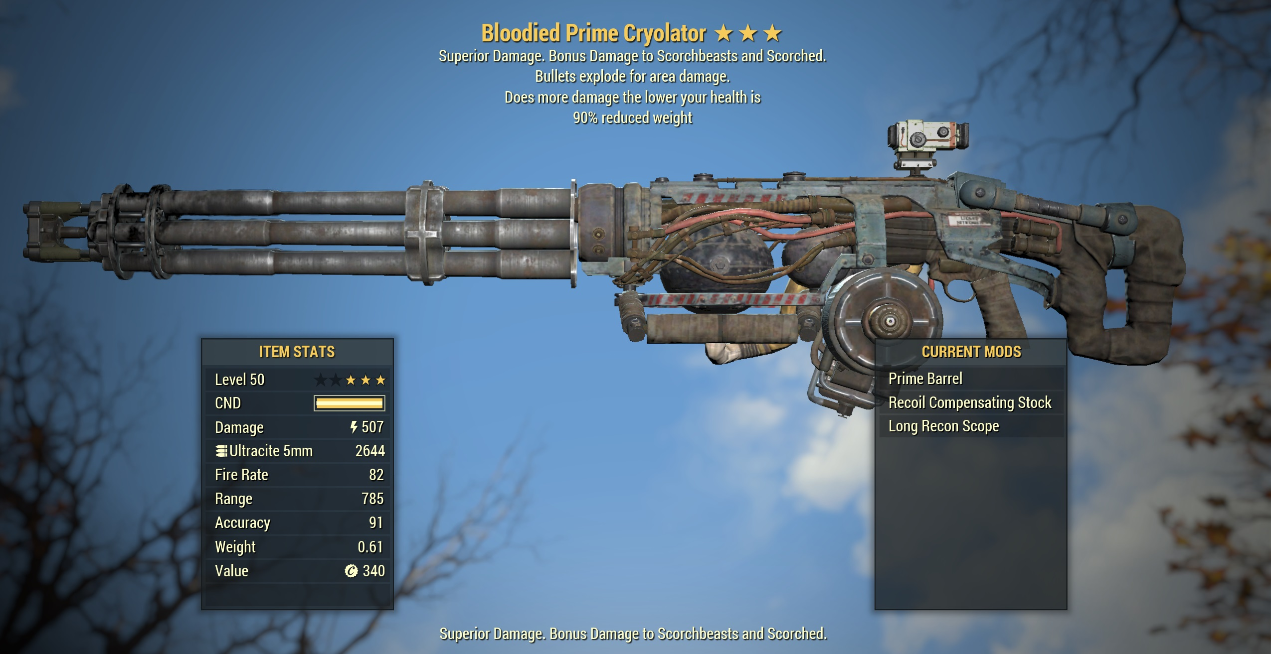 ★★★ Bloodied Explosive Cryolator Minigun[90% Reduced Weight] | FAST DELIVERY | Check Description
