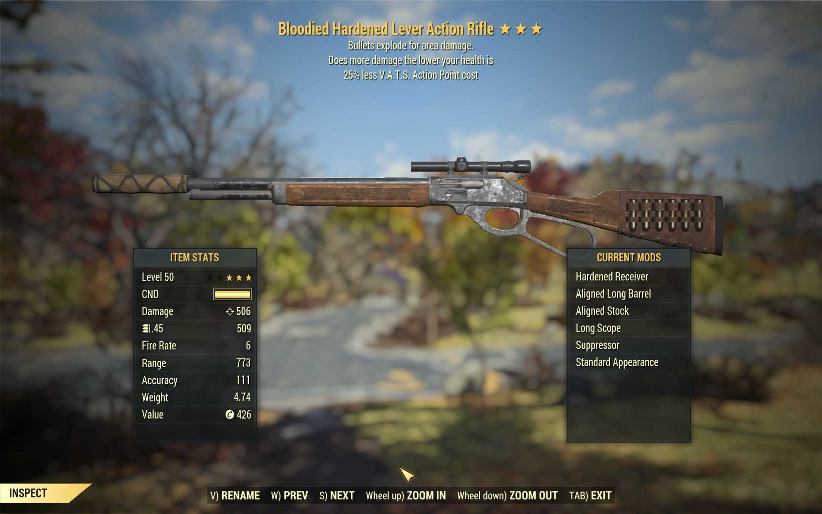 [Glitched weapon] Bloodied Explosive Lever Action Rifle (25% Less VATS AP Cost)