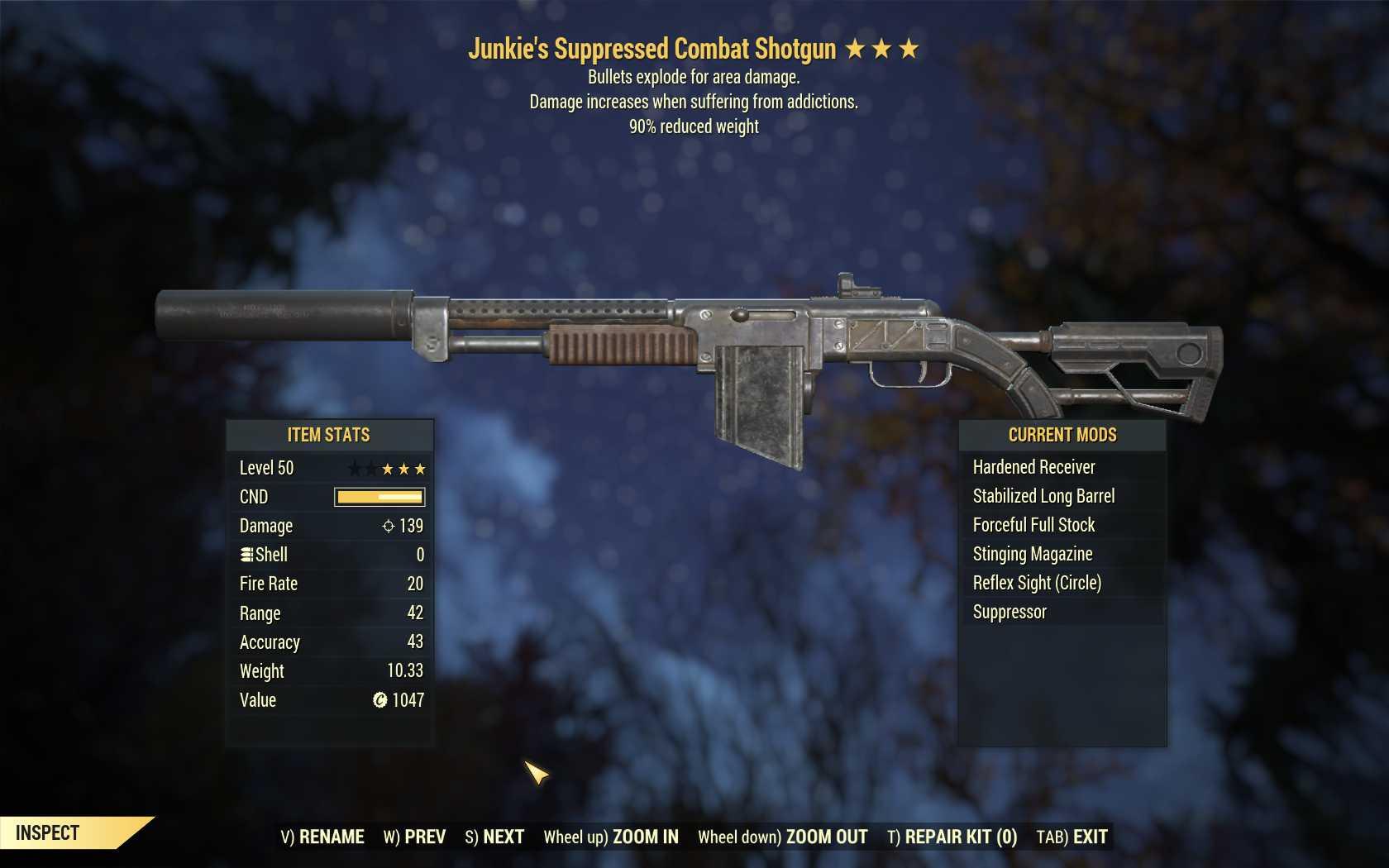 Junkie's Explosive Combat Shotgun (90% reduced weight)