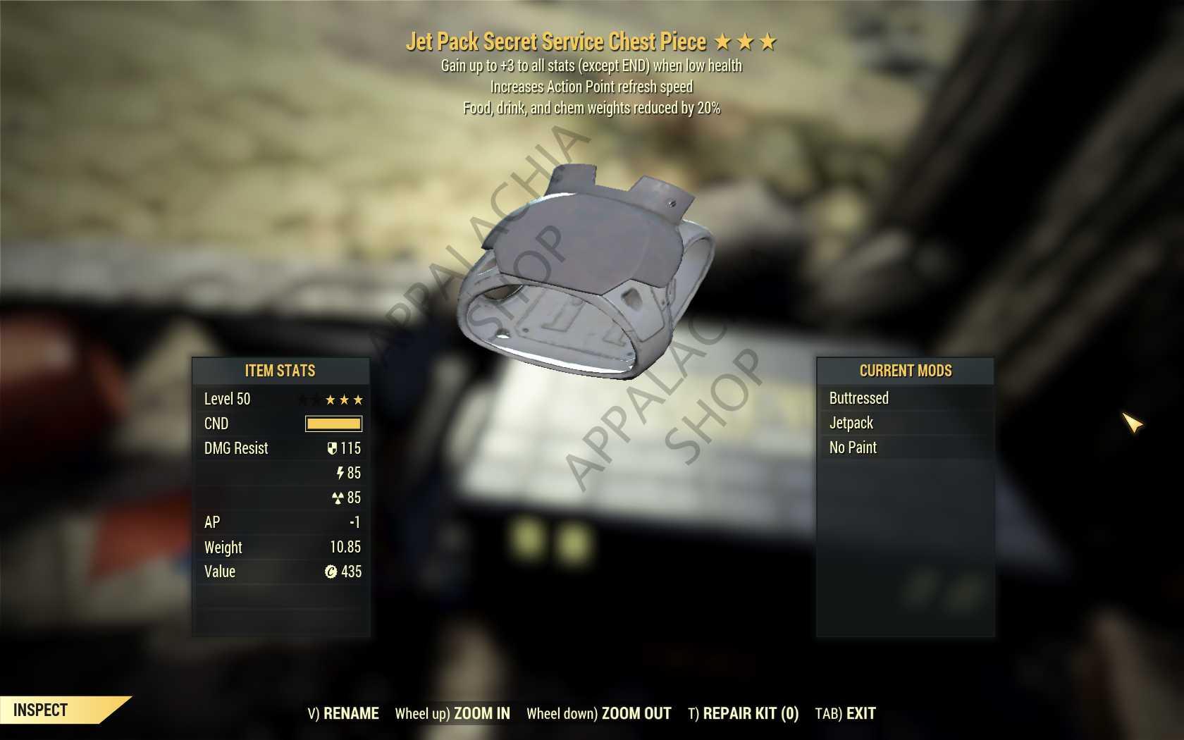 Unyielding Chem weight reduction Secret Service Armor Set (FULL AP REFRESH 5/5)[FULL Mods + Jetpack]