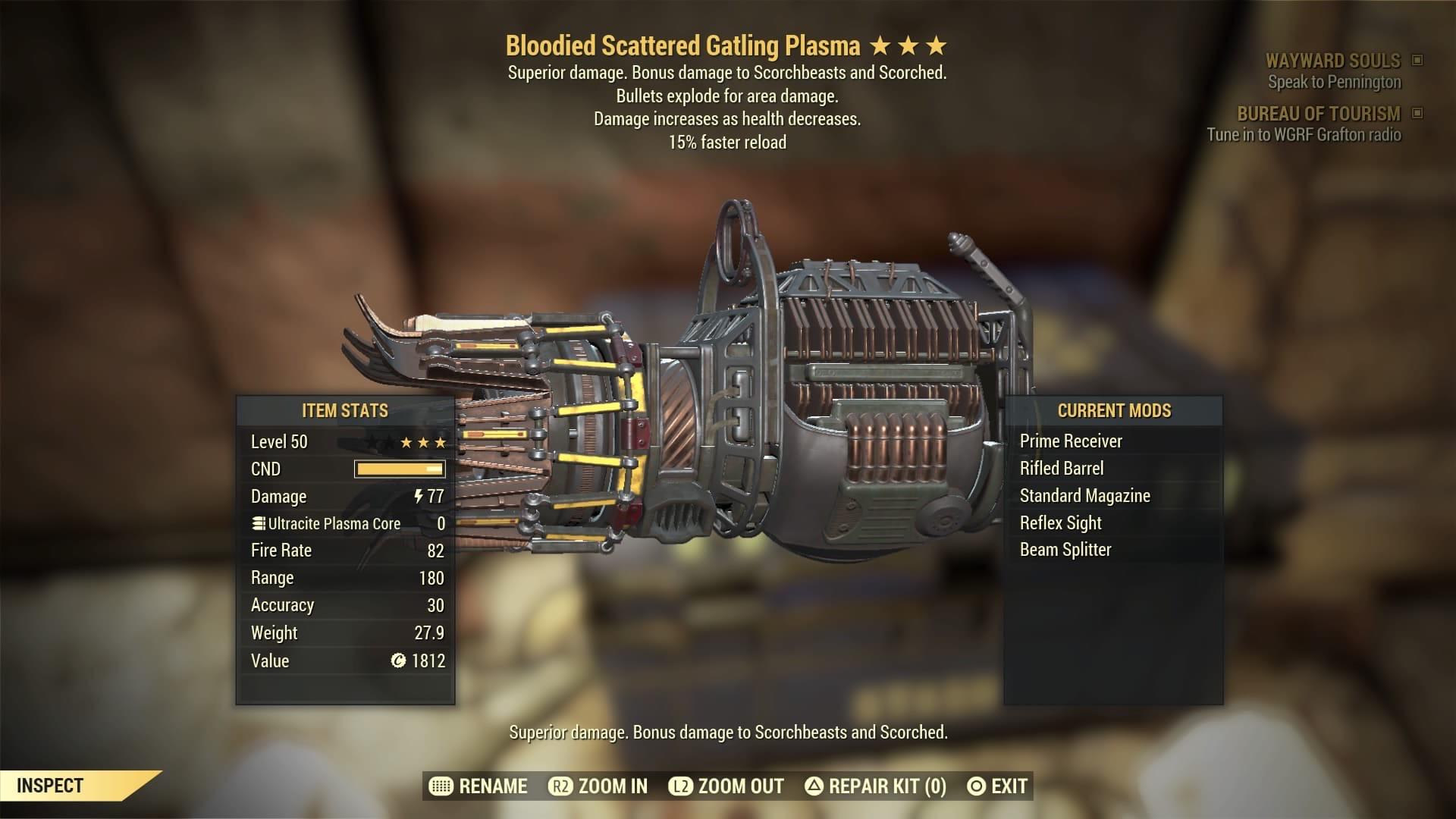 [PS4] Bloodied Explosive Gatling Plasma [15% Faster Reload]