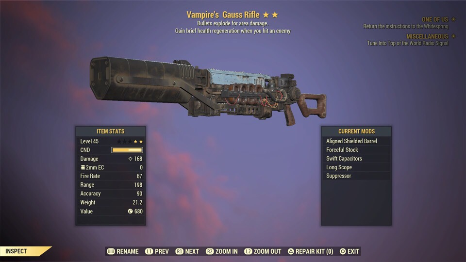[PS4] Vampire's Explosive Gauss Rifle