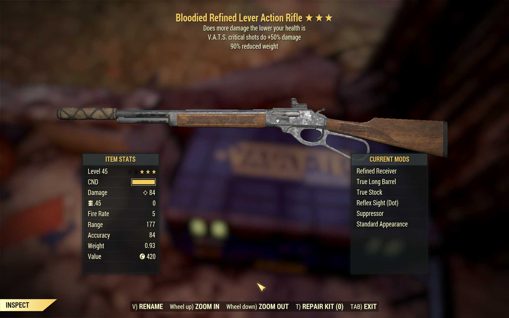 Bloodied Lever Action (50% critical damage, 90% reduced weight)