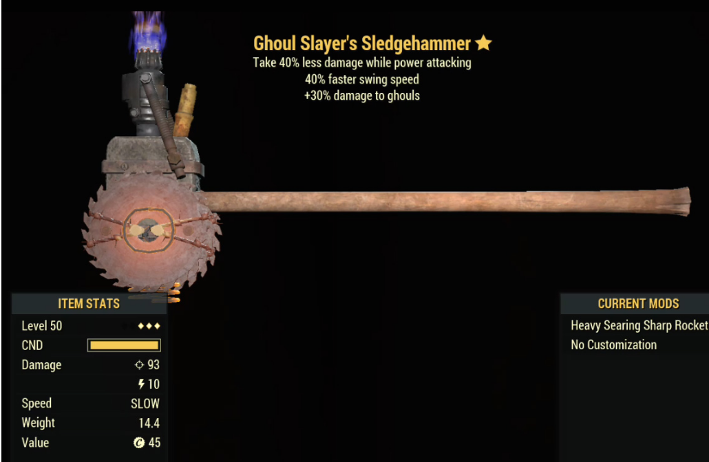 Ghoul Slayer's Sledgehammer- Level 50