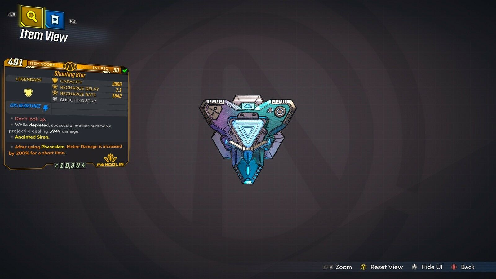 "Borderlands 3 ""Shooting Star"" Anointed LVL 50 God Roll Shield XBOX ONE"