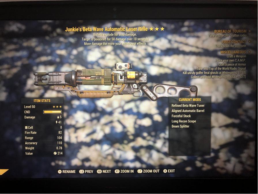 Junkie's Explosive Laser Rifle[50 Poison Damage]