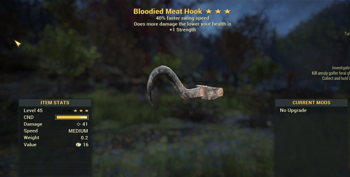 Bloodied 40% Faster Swing speed + 1 Strength Meat Hook