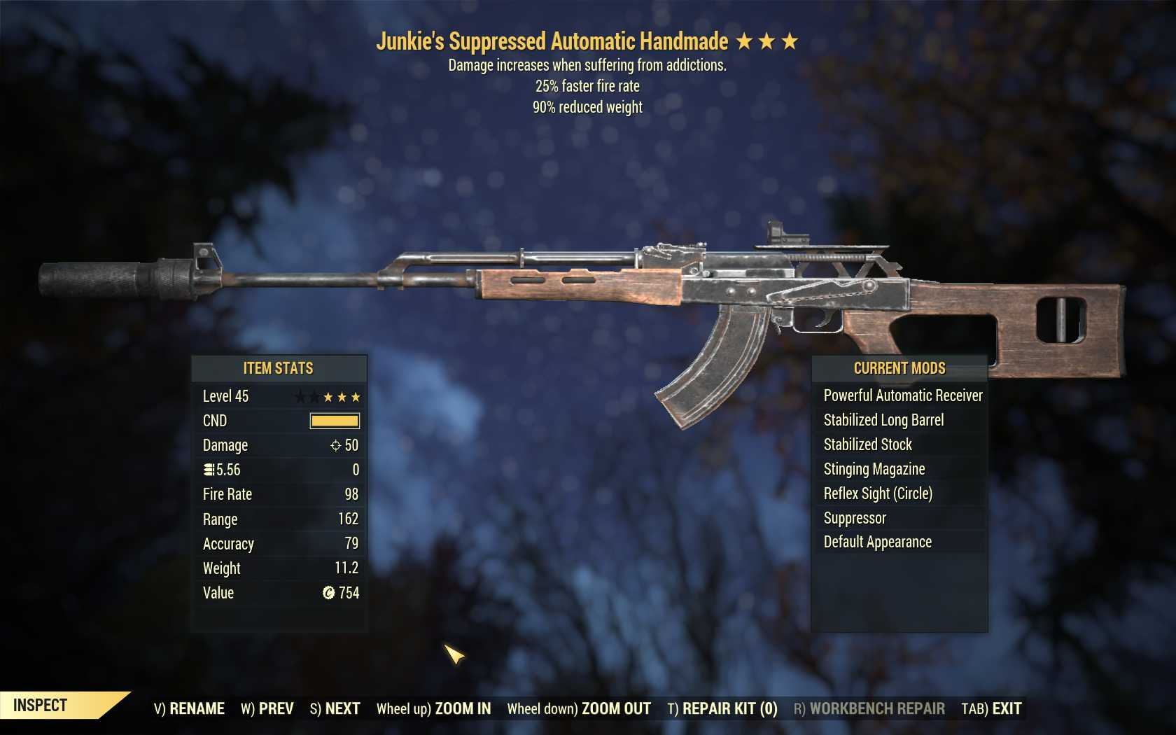 Junkie's Handmade (25% faster fire rate, 90% reduced weight)