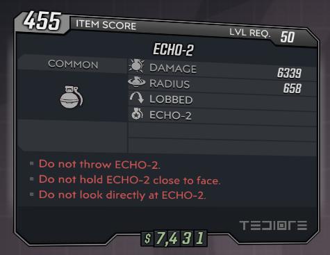 """★★★[PC] ECHO-2 lvl 50 (EXCLUSIVE """"COMMON"""" Grenade)★★★"""