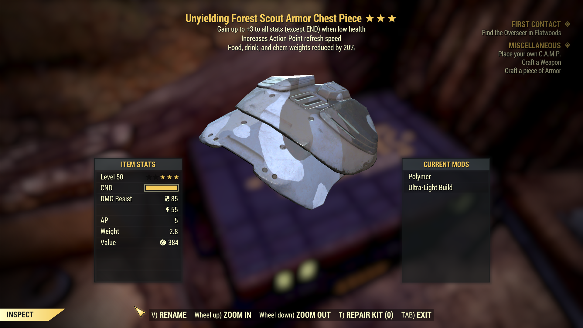 Unyelding Forest Scout Armor Set (5/5 FULL AP REFRESH, Food Drink Chem Weight Reduction 5/5)