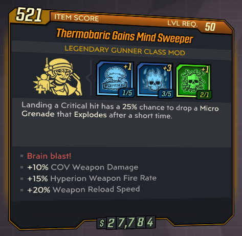 ★★★[PC] Thermobaric Gains Mind Sweeper lvl 50 (Legendary Gunner Class Mod)★★★