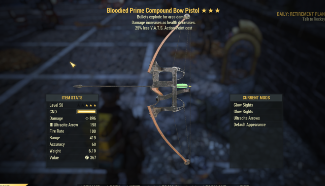 Bloodied Explosive Compound BOW PISTOL [GLITCH WEAPON] [900 DAMAGE   420 RANGE]