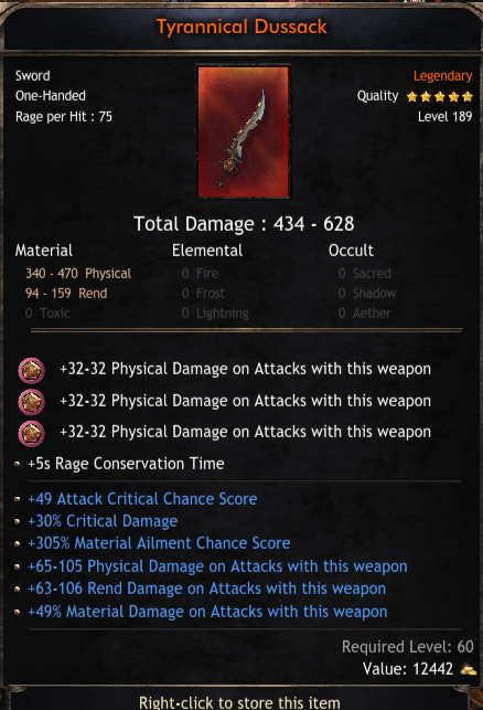 434-628 Damage One-Hand Sword, 49 Critical Chance, 30% Critical Damage, 305 Material Ailment