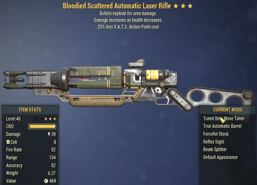 [PC] Bloodied Explosive Laser Rifle [25% Less Vats AP]