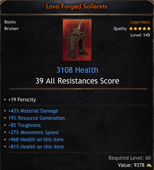 ★★★BOOTS 3108 HP 39 RES (43% mat dmg, 19% reso gen, 85 tough, 27% move speed) - INSTANT DELIVERY★★★