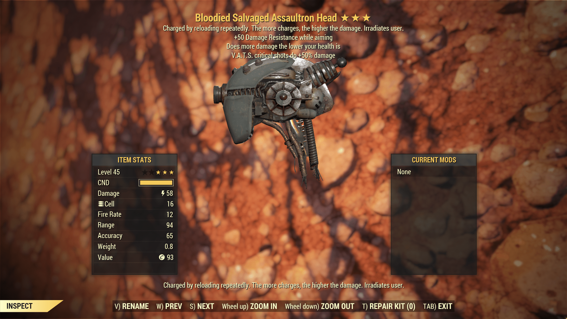 ★★★ Bloodied Assaultron Head   +50 Damage Resist   VATS CRIT   MAX LVL   FAST DELIVERY  