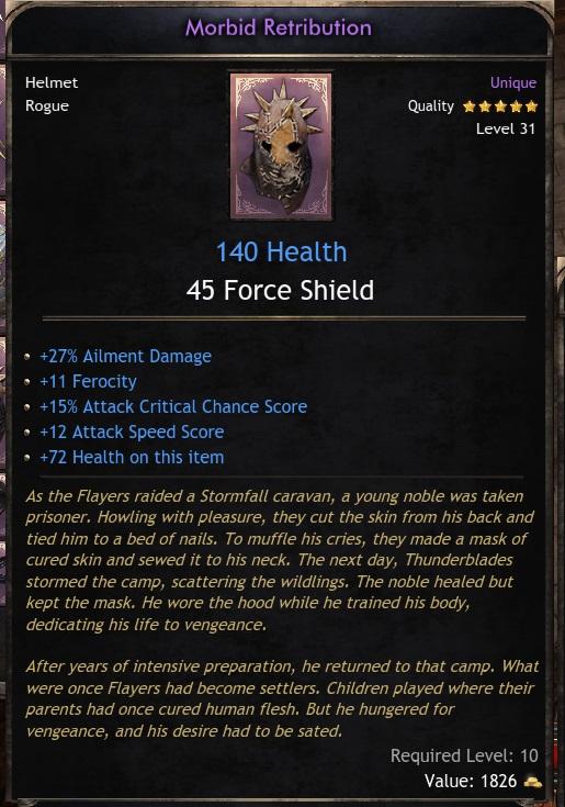 Unique Helm  Morbid Retribution