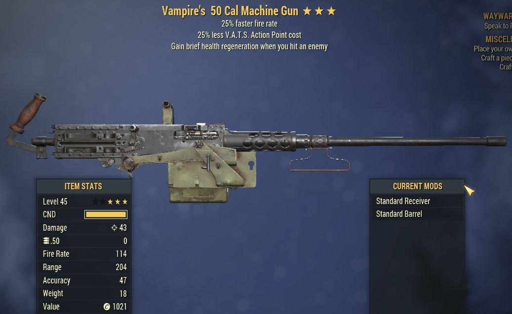 [PC] Vampire's 50 Cal MG [25%FFR | 25% Less Vats AP]