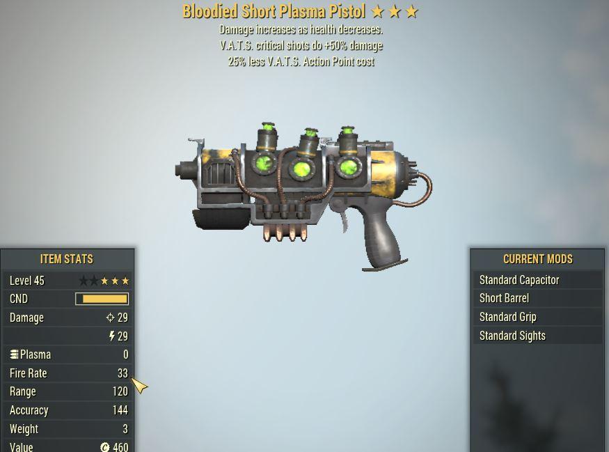 [PC] Bloodied Plasma Pistol [25% Less Vats AP | VATS crit shots do +50% DMG]