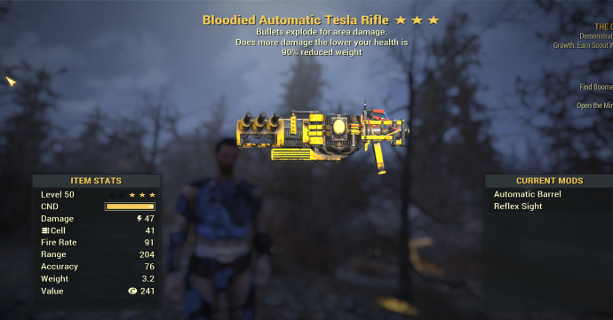Bloodied Explosive Tesla Rifle   90% Weight
