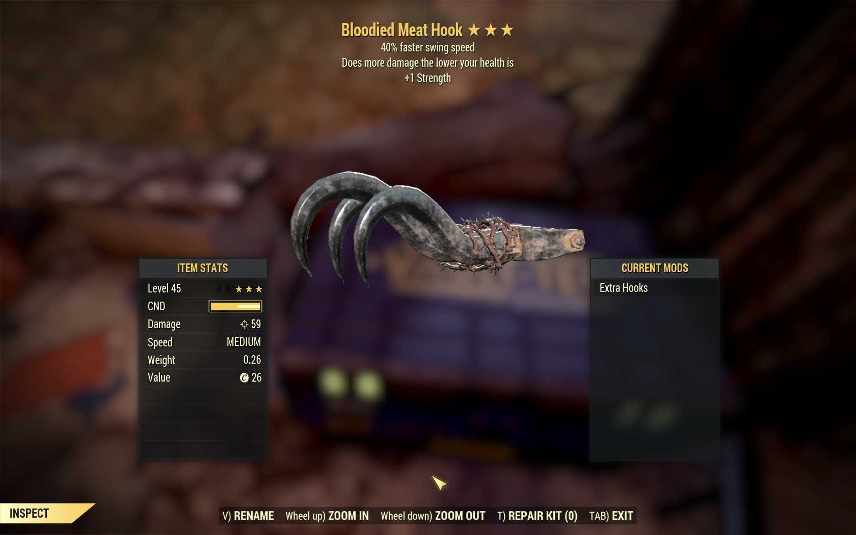 Bloodied Meat Hook (40% Faster Swing Speed, +1 Strength)