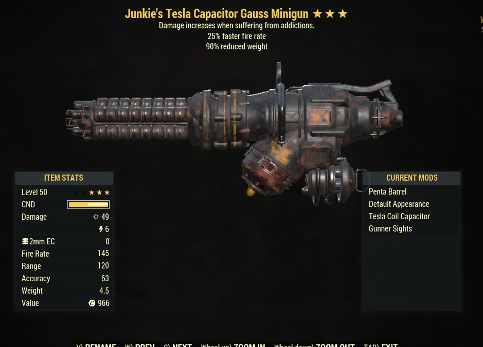 ⭐⭐⭐ [Prices are discussed] Junkie's Gauss Minigun (25% faster fire rate, 90% reduced weight)