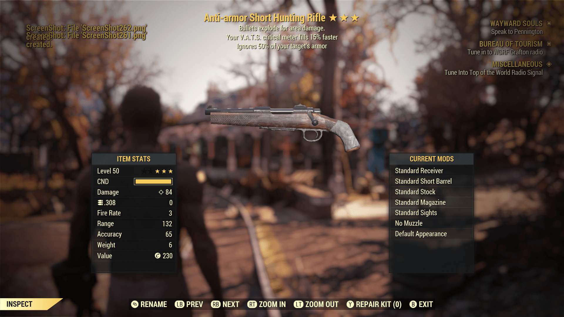 Anti-Armor Short Hunting Rifle[Your V.A.T.S.critical meter fills 15% faster+Ignores 50% of your targ