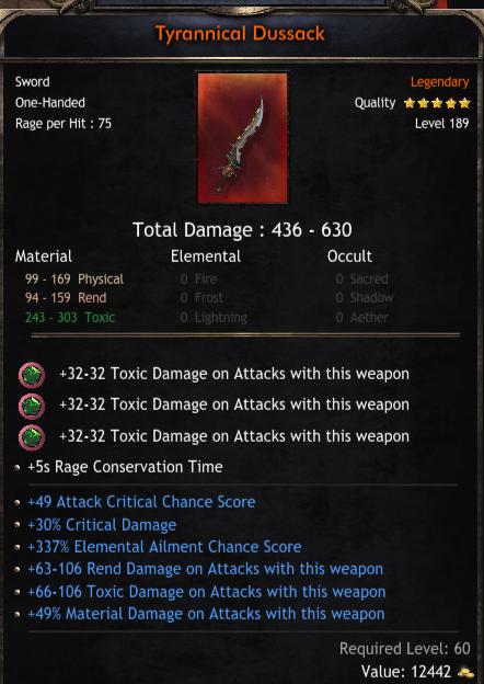 436-630 Damage One-Hand Sword, 49 Critical Chance, 30% Critical Damage, 337 Elemental Ailment