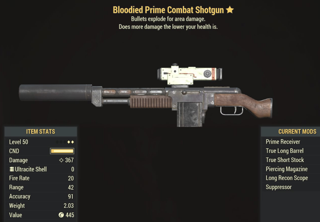 Bloodied Prime Combat Shotgun - Level 50