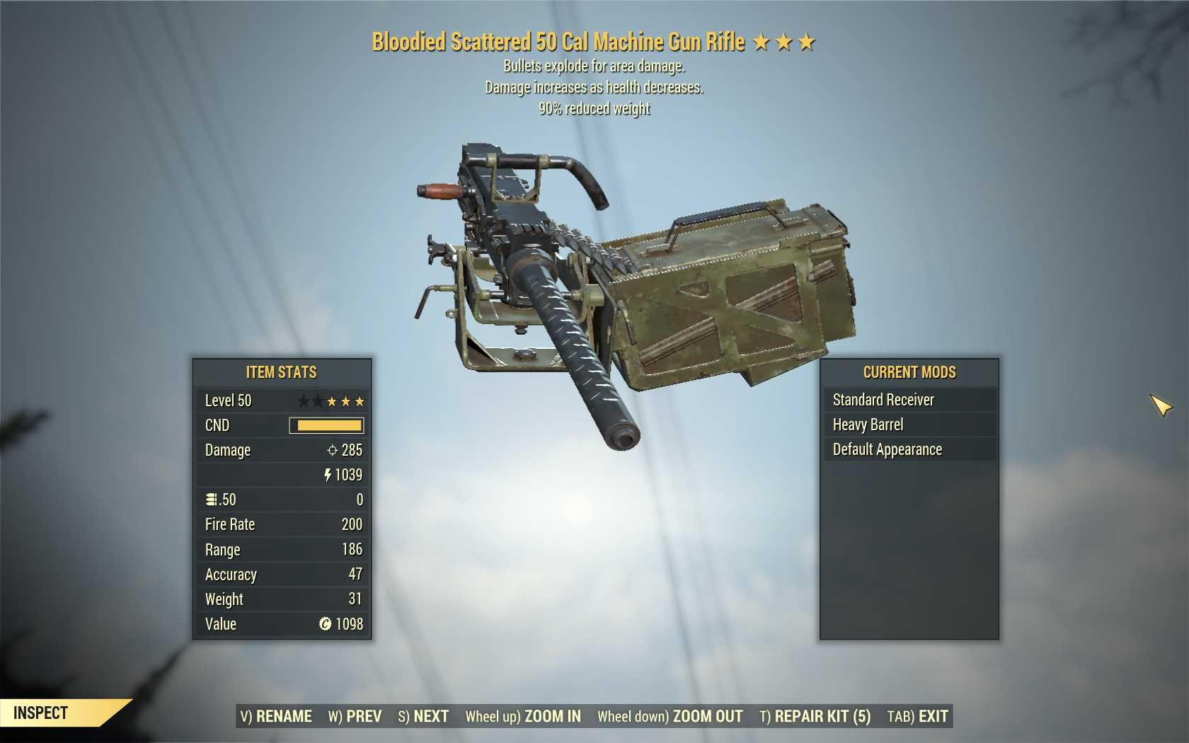 [Glitched weapon, Insane Damage] Bloodied Explosive 50 Cal Machine Gun (90% reduced weight)