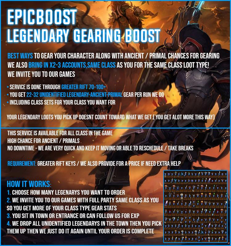 EpicBoost ✅ US / EU ✅ 300x Unidentified Legendarys/Set Items = $15 ✅ 100% POSITIVE FEEDBACK