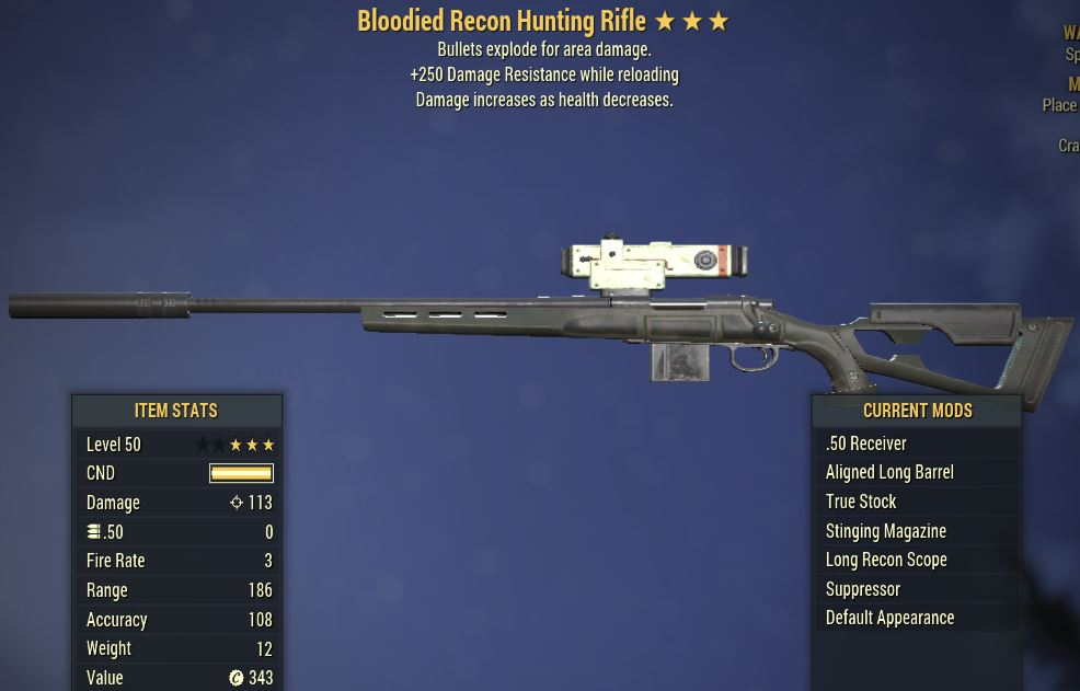 [PC] Bloodied Explosive Hunting Rifle [+250 Damage Resistance]