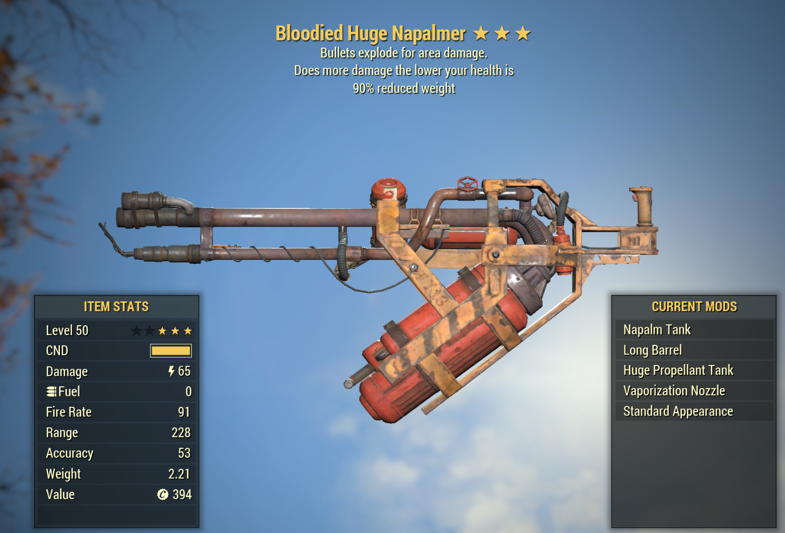 Bloodied Explosive Flamer 90% Weight