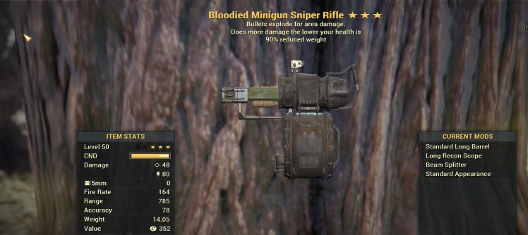 Bloodied Explosive  Minigun = Laser Sniper rifle [HUGE DAMAGE! GLITCH WEAPONS]