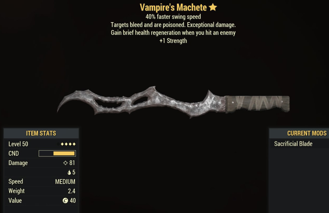 Vampire's Machete - Level 50