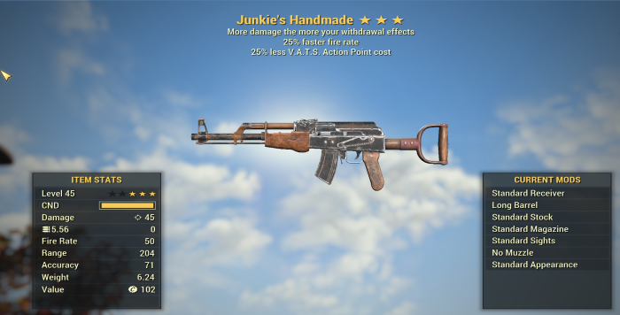 Junkie's 25% Faster fire rate + 25% less VATS Handmade