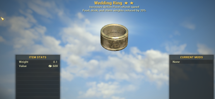 Wedding RING ( AP REFRESH + FOOD, CHEM WEIGHTS) [Legendary Outfit]